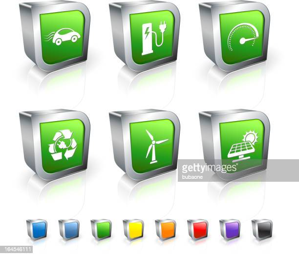 electric car 3d vector icon set with metal rim - odometer stock illustrations, clip art, cartoons, & icons
