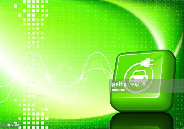 bildbanksillustrationer, clip art samt tecknat material och ikoner med electric car button on green background - elbil