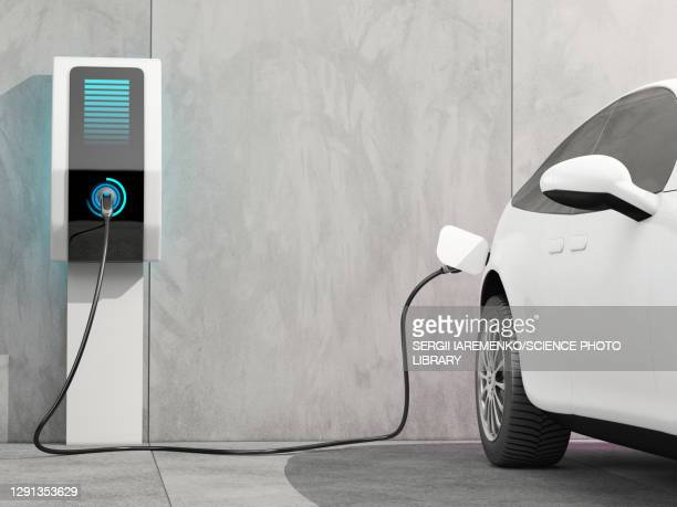 electric car charging, illustration - electric vehicle charging station stock illustrations