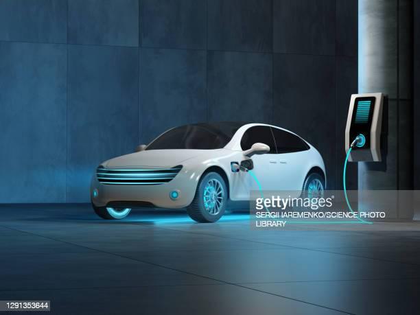 electric car charging, illustration - transportation stock illustrations