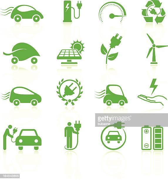 ilustraciones, imágenes clip art, dibujos animados e iconos de stock de coche eléctrico medioambientales de arte vectorial sin royalties de la colección - vehículo eléctrico