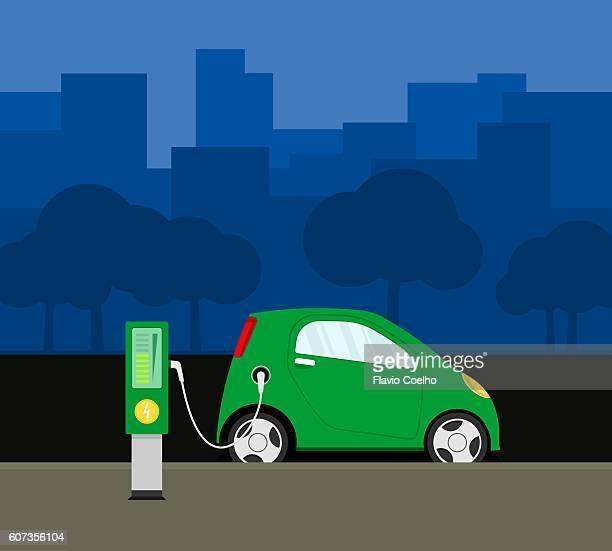 ilustraciones, imágenes clip art, dibujos animados e iconos de stock de electric car recharging - vehículo eléctrico