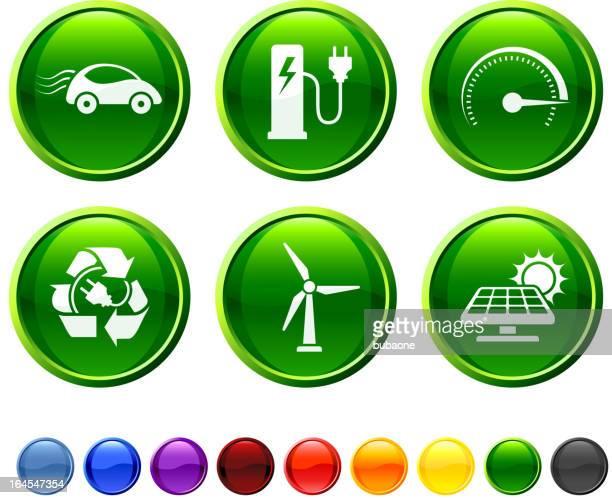ilustraciones, imágenes clip art, dibujos animados e iconos de stock de coche eléctrico prueba conjunto de iconos vectoriales sin royalties - vehículo eléctrico