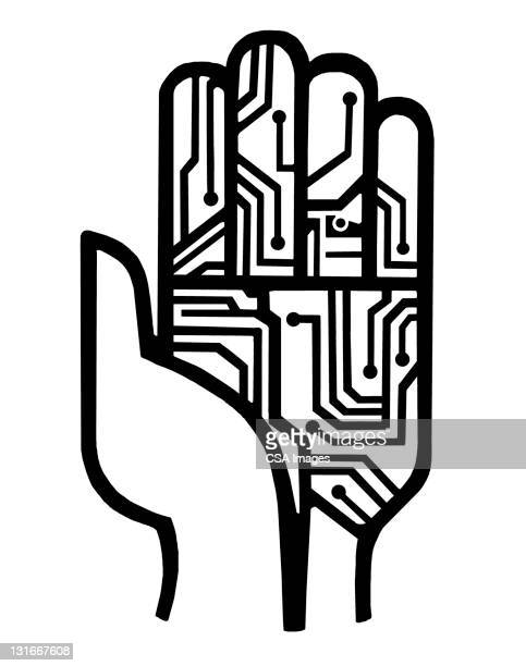 electric circuit hand - computeranlage stock-grafiken, -clipart, -cartoons und -symbole
