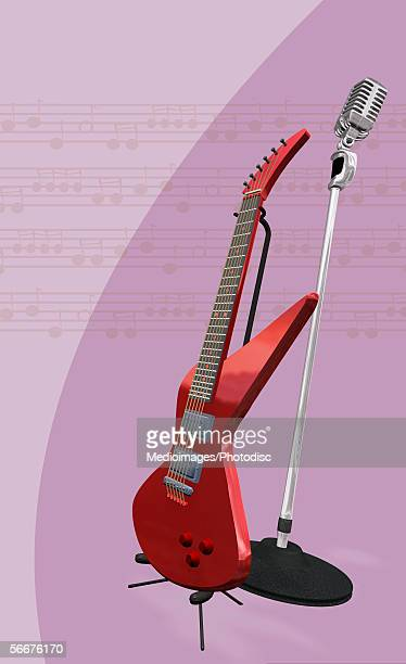 electric guitar and a microphone with a stand - microphone stand stock illustrations