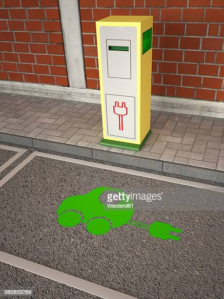electric vehicle charging station, green car symbol on asphalt - electric vehicle charging station stock illustrations