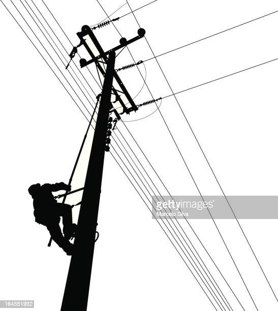 electric worker climbing silouete - steel cable stock illustrations