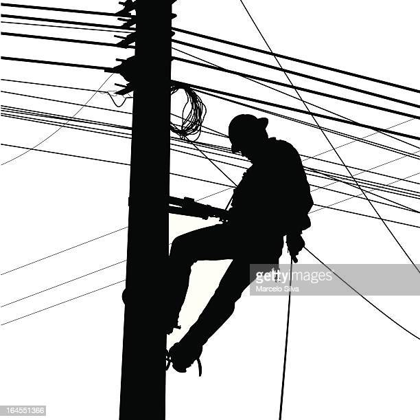 electric worker silouete - steel cable stock illustrations