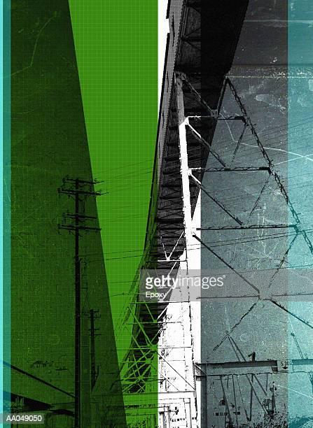 ilustraciones, imágenes clip art, dibujos animados e iconos de stock de electrical site (digital composite) - vista de ángulo bajo