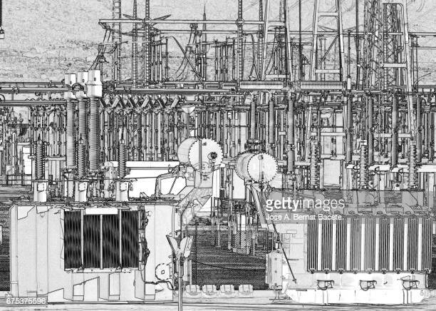 electrical transformer of high tension in a distribution electric power station of electric power - comunidad autonoma de valencia stock illustrations