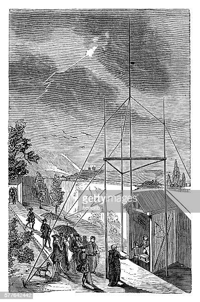 electricity experiment during lightning storm in marly, france - rod stock illustrations, clip art, cartoons, & icons