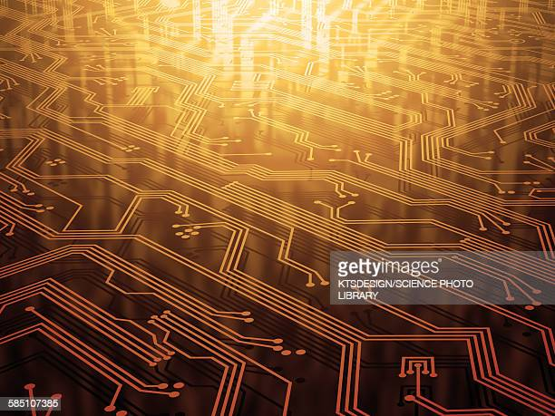 electronic circuit, illustration - computer part stock illustrations