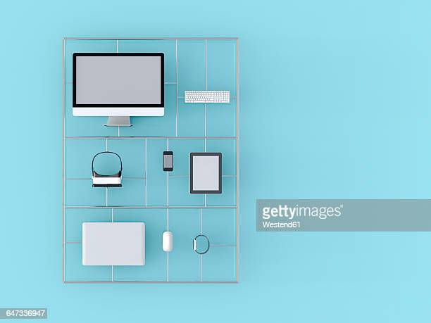 electronic devices, computer, laptop, keyboard, tastatur, mouse, tablet-pc, mobile phone, smartwatch, virtual reality glasses, 3d-rendering - digitally generated image stock illustrations