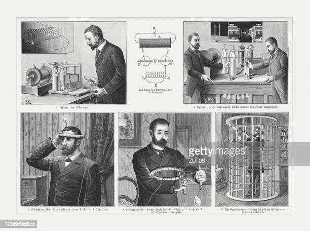 ジャック・アルセーヌ・ダルソンヴァルによる電気生理学的実験、木彫り、1895年に出版 - 物理学者点のイラスト素材/クリップアート素材/マンガ素材/アイコン素材