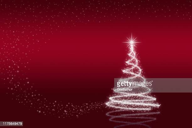 elegant christmas tree with stars - red and blue background stock illustrations