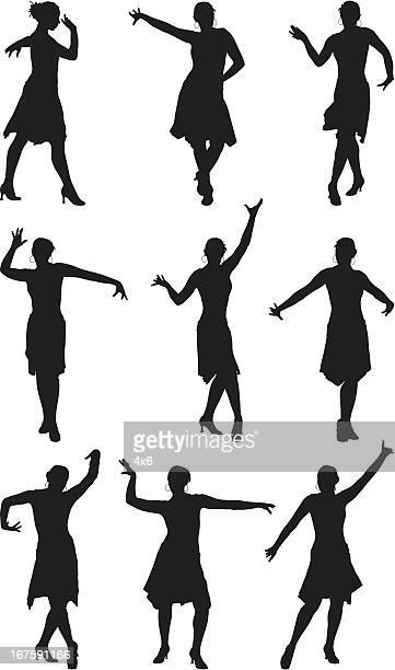 elegant dancer dancing the flamenco - samba dancing stock illustrations, clip art, cartoons, & icons
