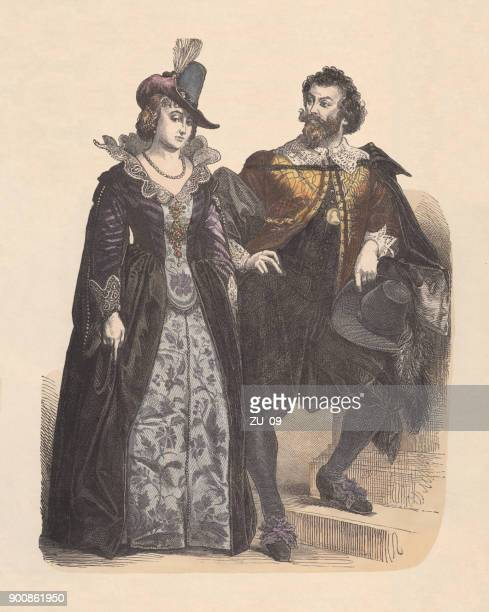 Elegant dutchmen, earley 17th century, hand-colored wood engraving, published c.1880
