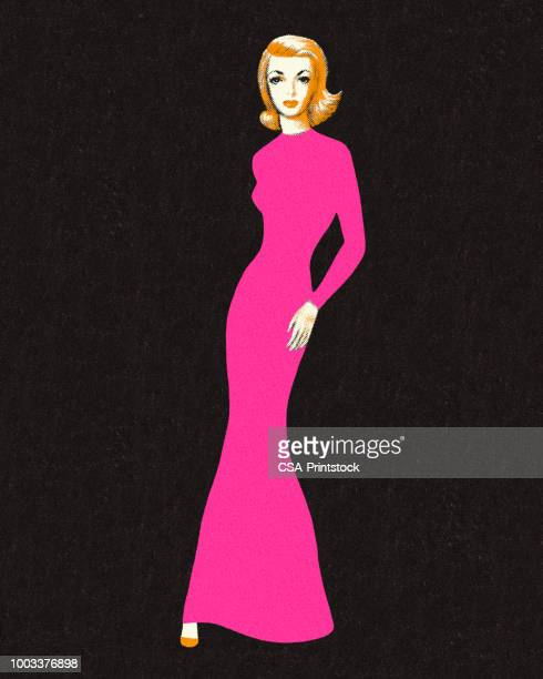elegant woman - evening gown stock illustrations