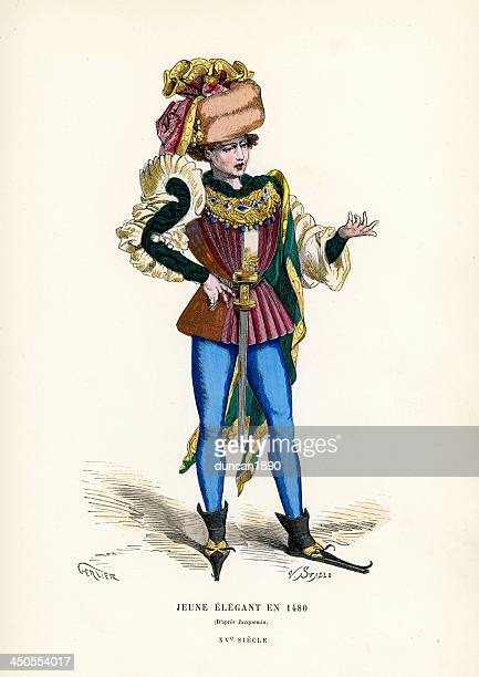 elegant young man 1480 - medieval shoes stock illustrations