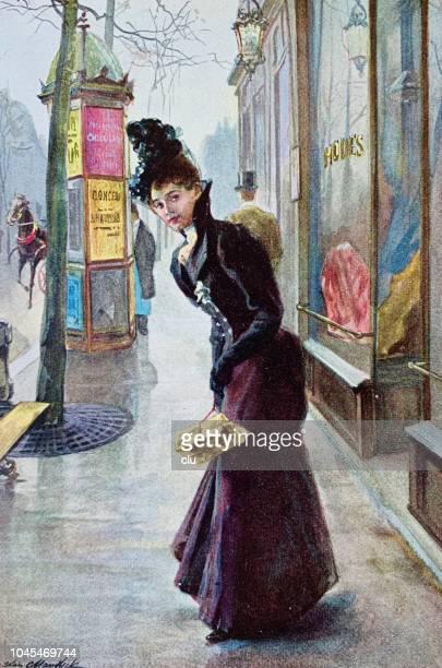 路上のギフト ボックスとエレガントな若い女性 - 1890~1899年点のイラスト素材/クリップアート素材/マンガ素材/アイコン素材