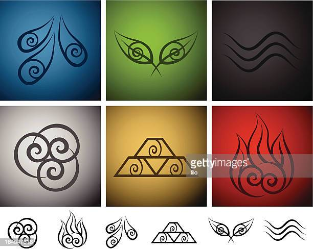 elemental symbols - the four elements stock illustrations
