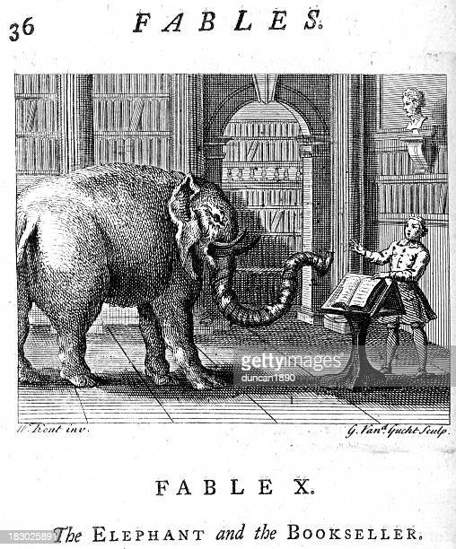 elephant and the bookseller - bookstore stock illustrations, clip art, cartoons, & icons