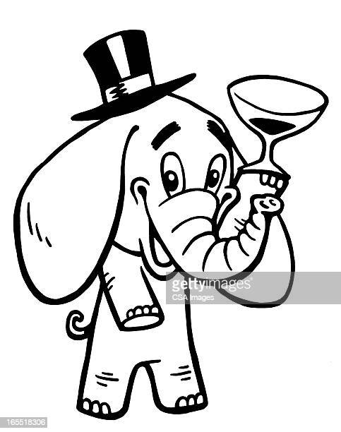 Elephant Drinking Wine
