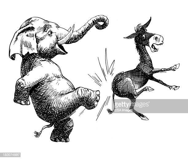 elephant kicking donkey - donkey stock illustrations, clip art, cartoons, & icons