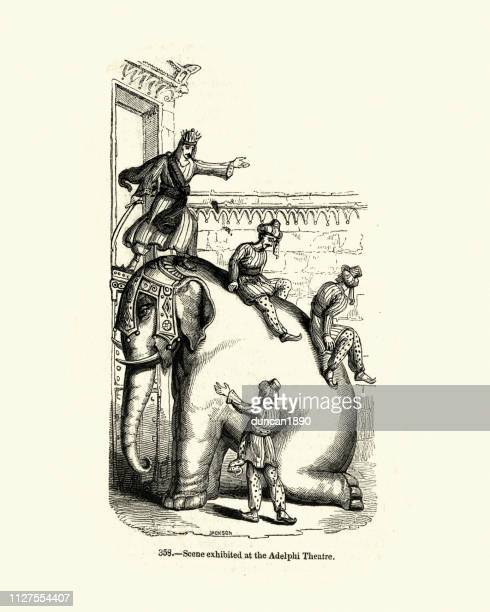 elephant used to escape from a building, 19th century - tame stock illustrations