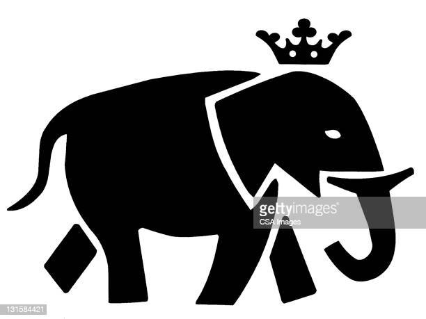 elephant wearing crown - ruler stock illustrations