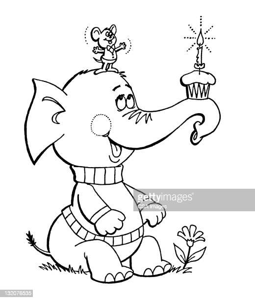Elephant With Cupcake and Mouse