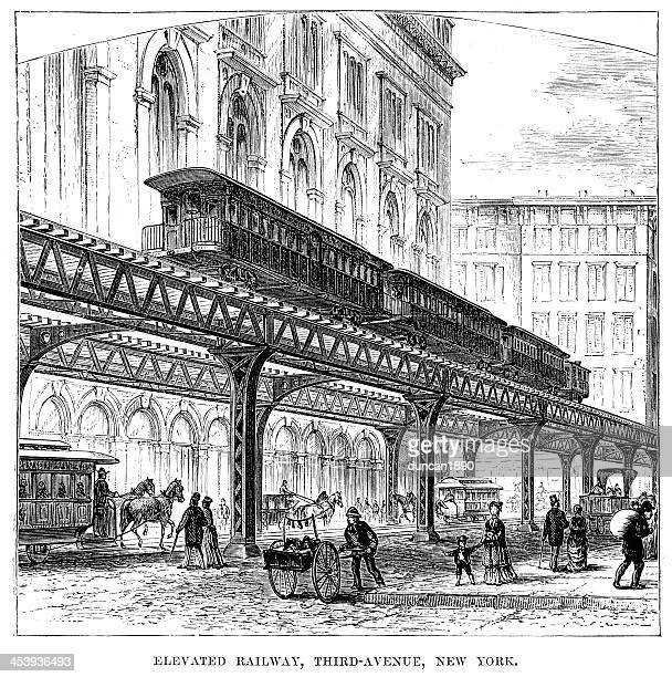 elevated railway, new york - elevated railway track stock illustrations