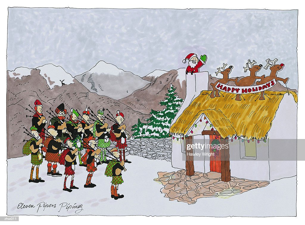 Eleven Pipers Piping : Stock Illustration