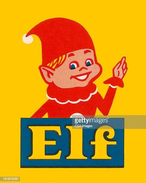 elf pointing - headwear stock illustrations