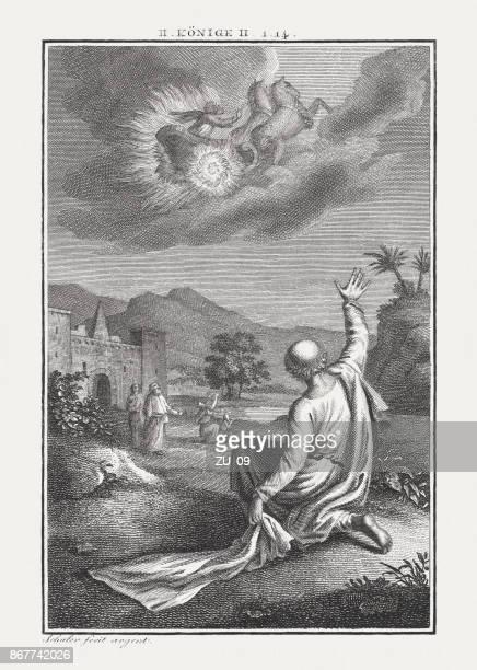 elijah's rapture (2 kings 2), copperplate engraving, published c. 1850 - afterlife stock illustrations, clip art, cartoons, & icons