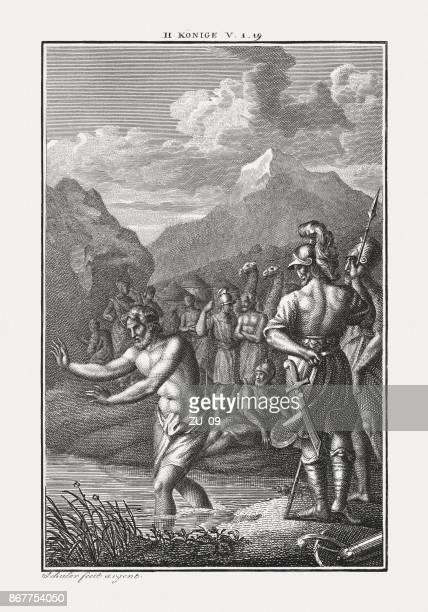 elisha heals naaman of his skin disease (2 kings 5) - leprosy stock illustrations