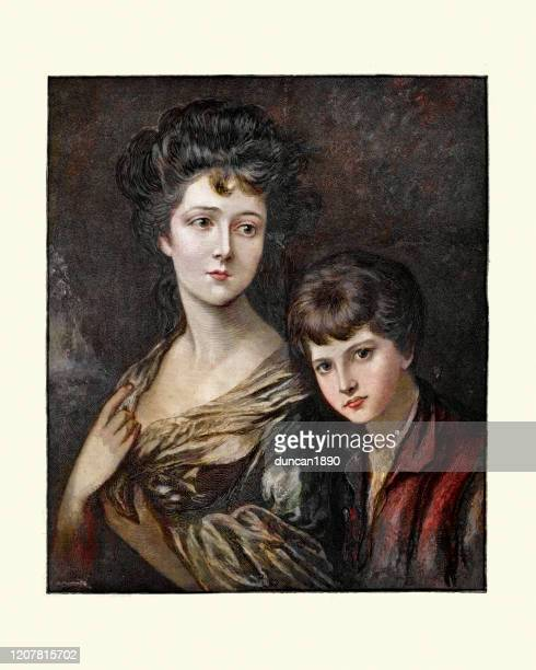 elizabeth ann sheridan (nee linley) and her brother, thomas gainsborough - nee nee stock illustrations