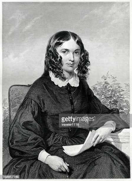 stockillustraties, clipart, cartoons en iconen met elizabeth barrett browning - authors