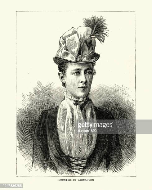 elizabeth herbert (nee. howard), countess of carnarvon, 1886 - nee nee stock illustrations