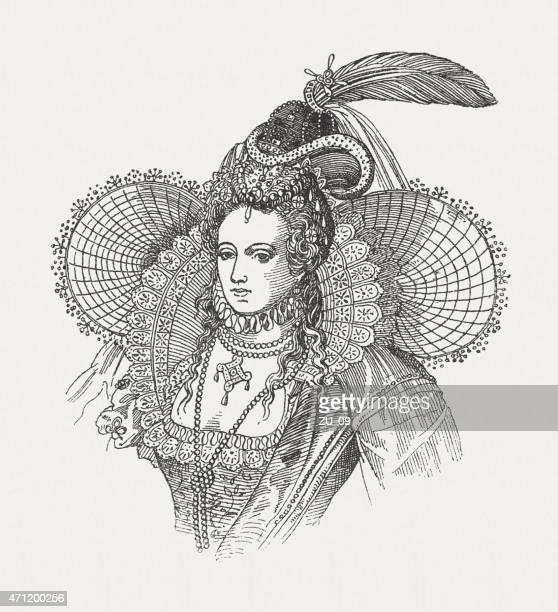 elizabeth i of england (1533-1603), wood engraving, published in 1881 - fascinator stock illustrations