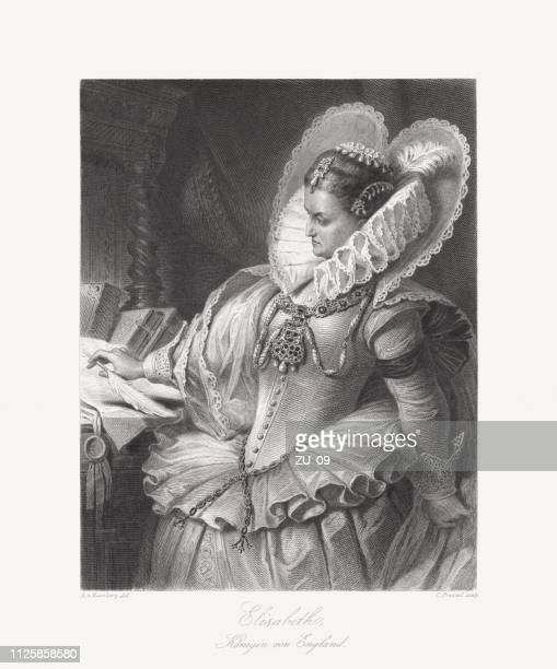 queen elizabeth i of england and ireland (1533-1603), published 1859 - 16th century stock illustrations