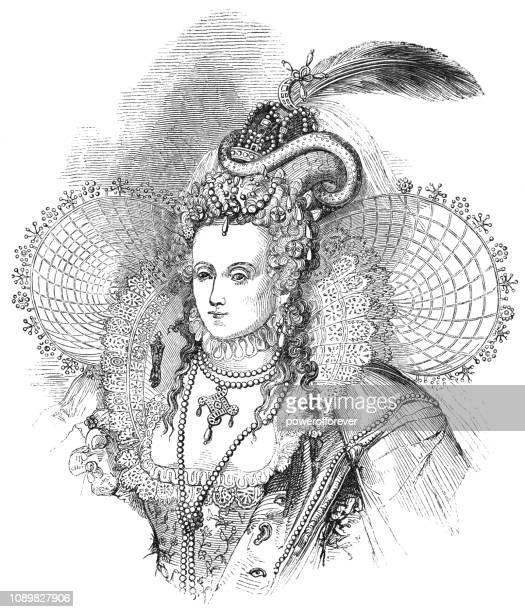 elizabeth i, queen of england - 16th century style stock illustrations