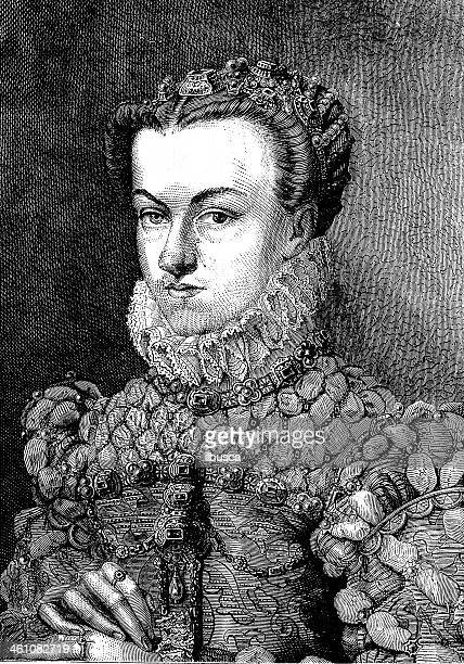 elizabeth of austria portrait by clouet - nice france stock illustrations, clip art, cartoons, & icons