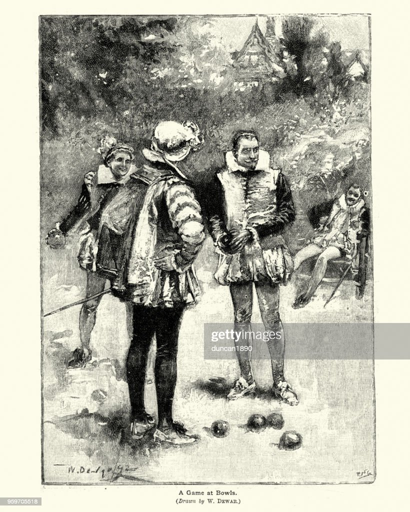 Elizabethan Herren ein Spiel der Schalen : Stock-Illustration
