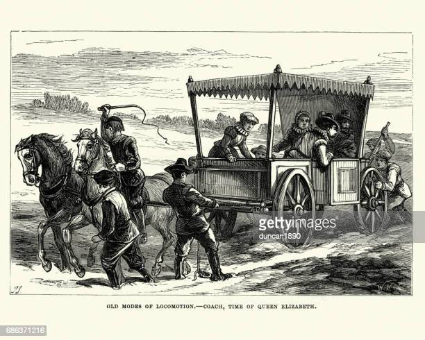 elizabethan people travelling by coach and horses - 16th century style stock illustrations