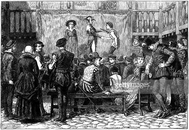 elizabethan theatrical play performed in london inn yard (engraved illustration) - actor stock illustrations, clip art, cartoons, & icons