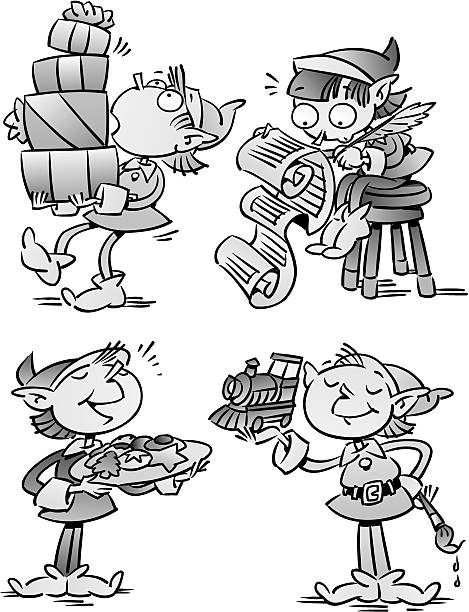 Elves  ' Grayscale  '  Elves working overtime  '  Each has their own talents