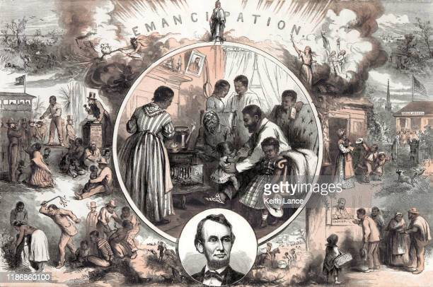 emancipation after the american civil war - black civil rights stock illustrations