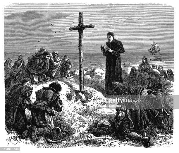 embarkation of the pilgrim fathers - pilgrim stock illustrations, clip art, cartoons, & icons