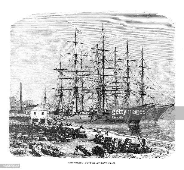 embarking cotton at savannah - savannah georgia stock illustrations, clip art, cartoons, & icons